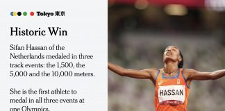 Ethiopian-born Dutch runner Sifan Hassan wins her third Olympic medal, this time another gold in the 10,000 meters...