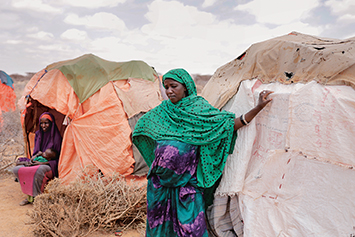 Amina Ali, displaced after losing her livestock to drought in 2017, lives in a makeshift shelter in Bardihahle near Burao, in northwestern Somaliland. Nine months pregnant, she worries how she will reach hospital if she suffers complications. ZOHRA BENSEMRA/REUTERS