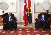 President Recep Tayyip Erdoğan (L) and Angolan President Joao Lourenco during their meeting at the Presidential Palace in Luanda, Angola, Oct. 18, 2021. (EPA Photo)