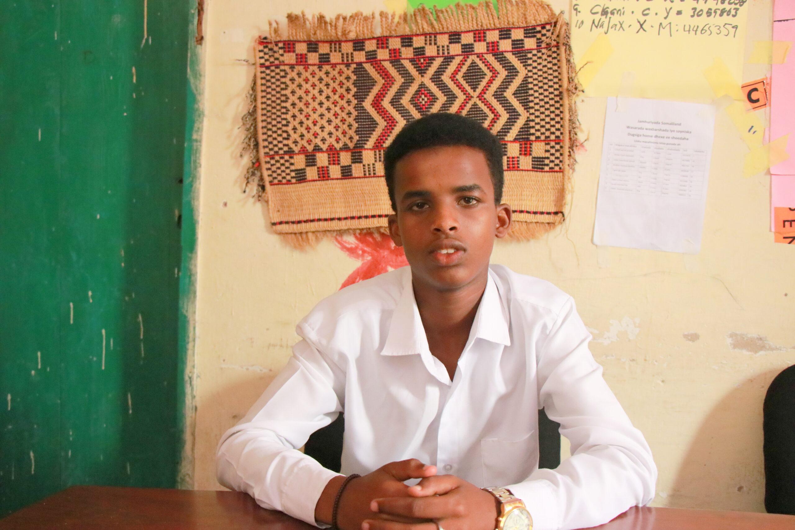 Hamse Abdilahi Abdirahman is one of the students in Sheedaha intermediate school in Hargeisa