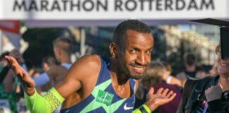 Somali-born Belgian Bashir Abdi celebrates at the finishing line after winning the 2021 Rotterdam Marathon. Photo credit: Courtesy